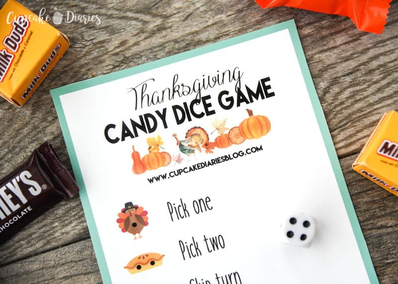 Thanksgiving Candy Dice Game - A fun and easy game for entertaining the kids this Thanksgiving!
