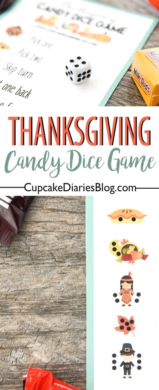 The Thanksgiving kids table always needs some entertaining! A Thanksgiving Candy Dice Game is the perfect activity and so easy!