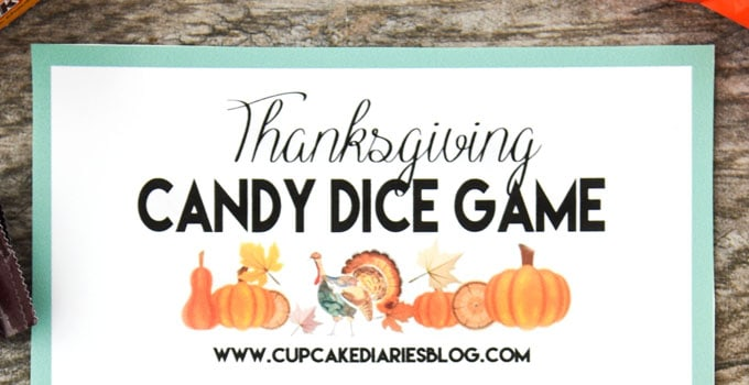 Thanksgiving Candy Dice Game - Perfect for kids after they finish their Thanksgiving dinner!