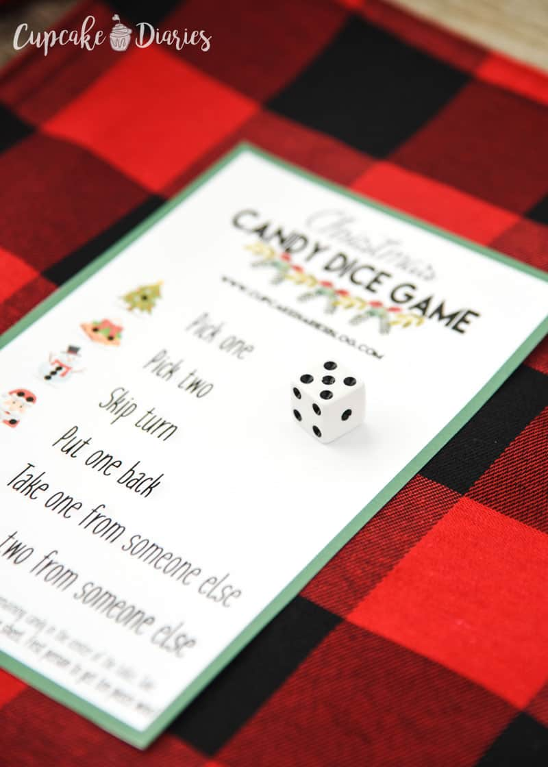 Christmas Candy Dice Game is a great holiday party game for kids and adults!