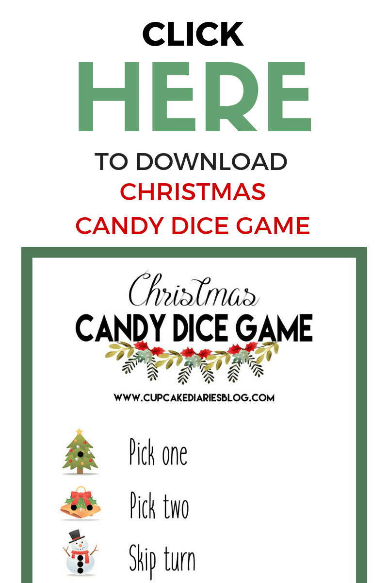 The kids will love playing this Christmas Candy Dice Game for a school party or family party!