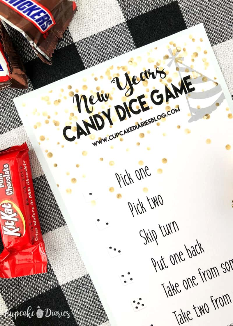 The kids will love playing New Year's Candy Dice Game this New Year's Eve!