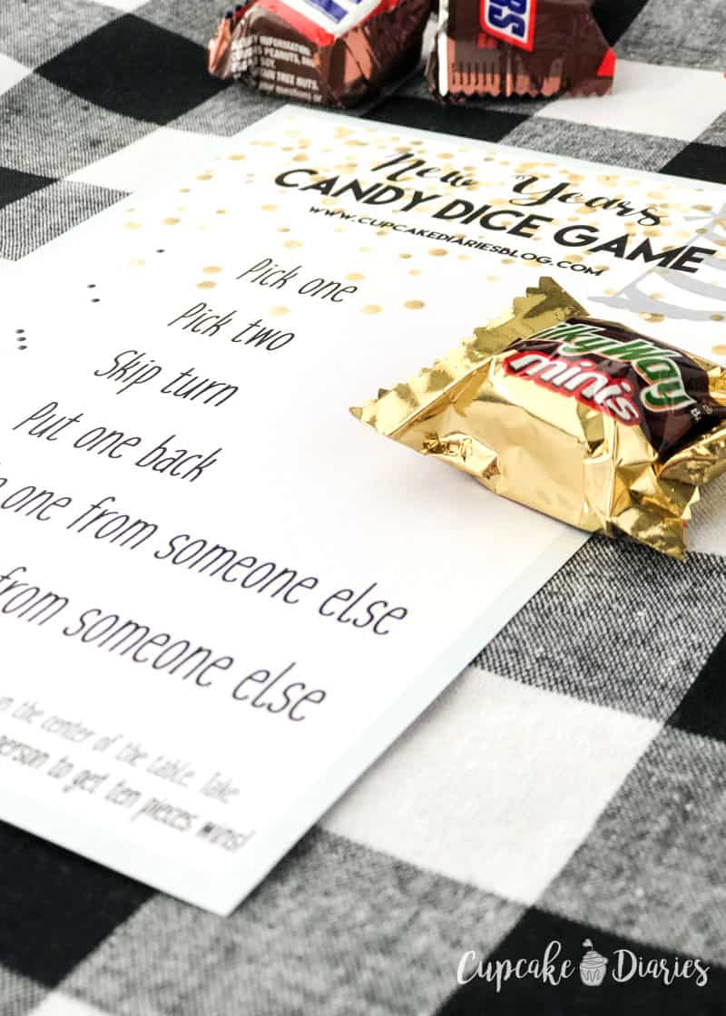 New Year's Candy Dice Game - The kids (and adults!) will love playing this printable game on New Year's Eve!