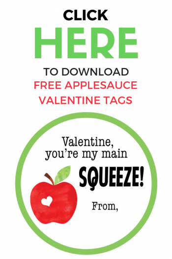Click to download FREE Applesauce Valentines tags for your child's class!
