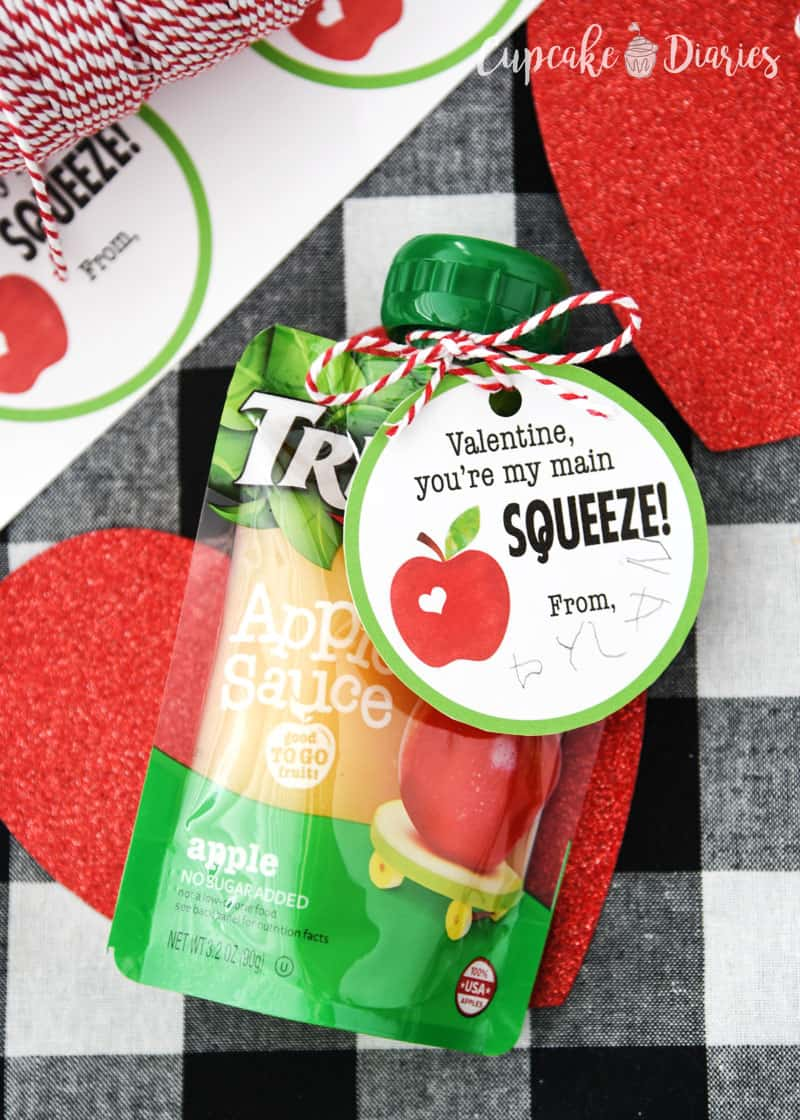 Applesauce Valentines - All you need is applesauce and these adorable tags and you've got yourself a great valentine for kids!
