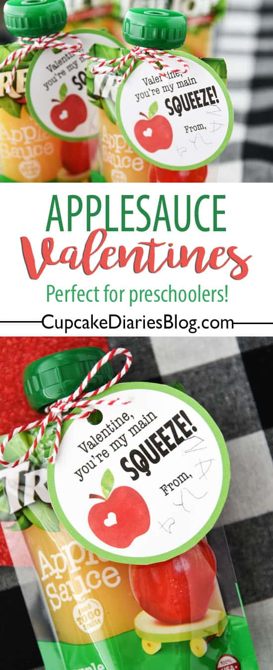 Applesauce Valentines are perfect for kids and especially preschoolers! They're so easy to put together and really cute.