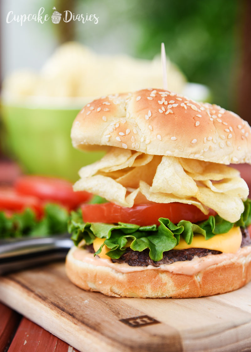 A juicy burger piled high with all-American ingredients, including potato chips!