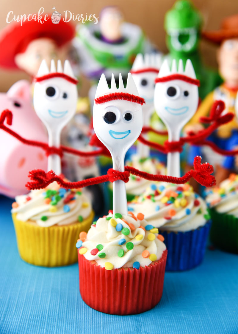 Forky Cupcakes are a craft and dessert all in one! Perfect for a Toy Story 4 birthday party.