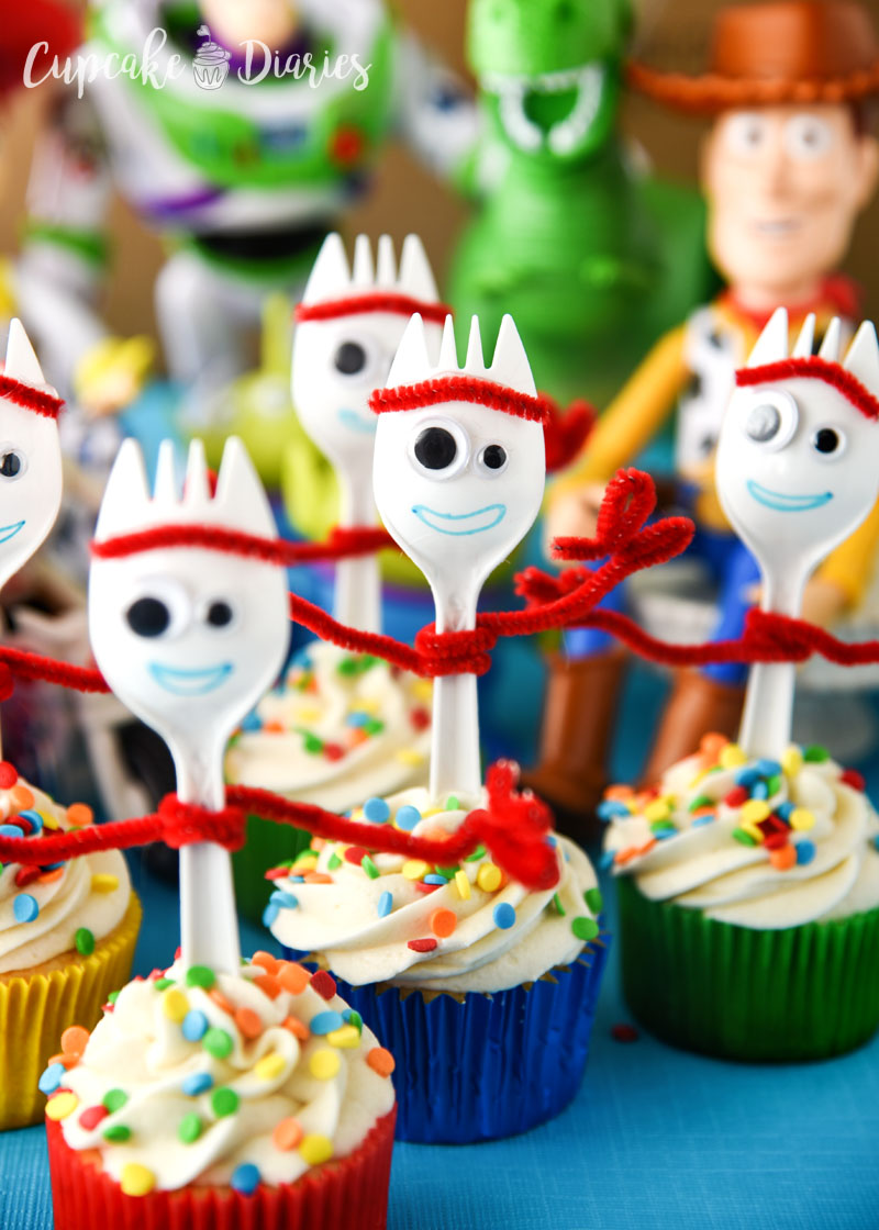 Forky is a new character introduced in the Toy Story 4 movie and such a likable little guy! He also makes a great cupcake.