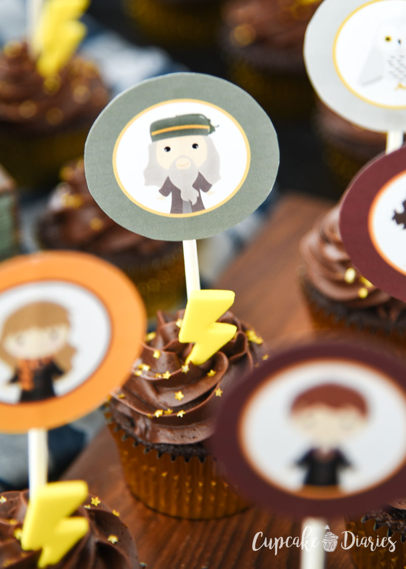 Harry Potter Cupcakes with Printable Toppers are perfect for a first birthday party!