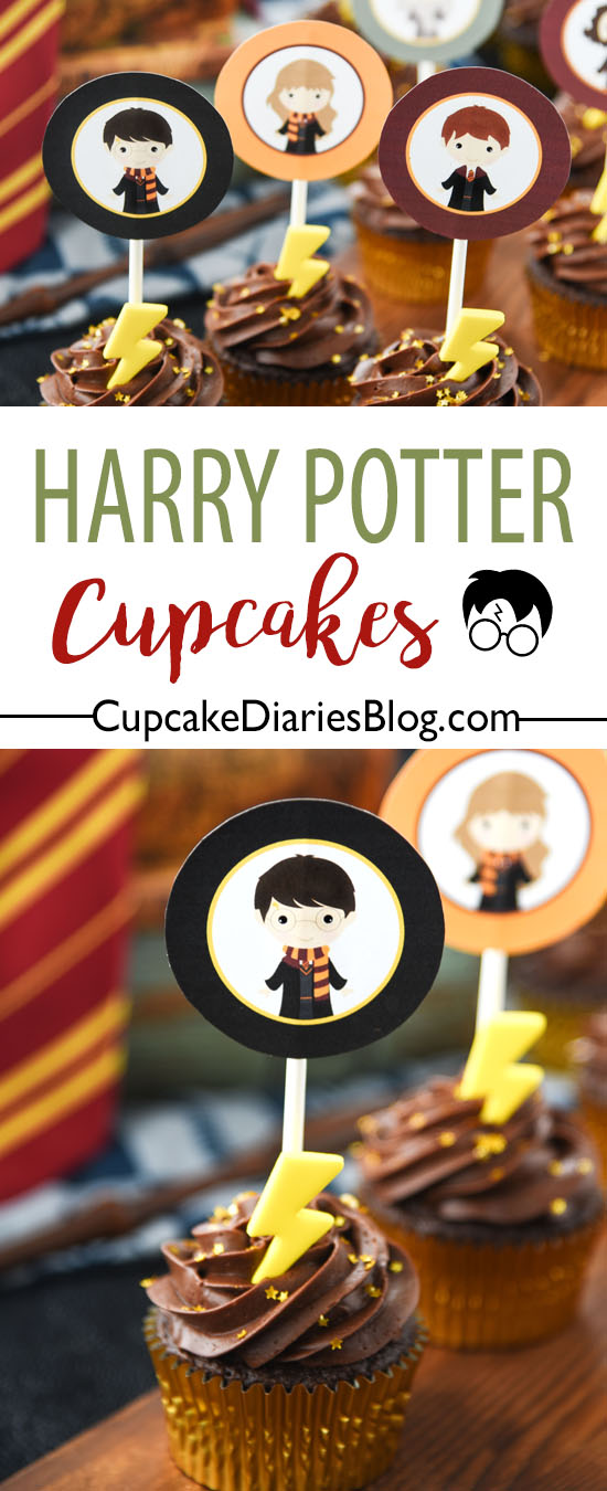 Harry Potter Cupcakes with Printable Toppers are the perfect dessert for a Harry Potter party! The characters on the toppers bring these cupcakes to life.