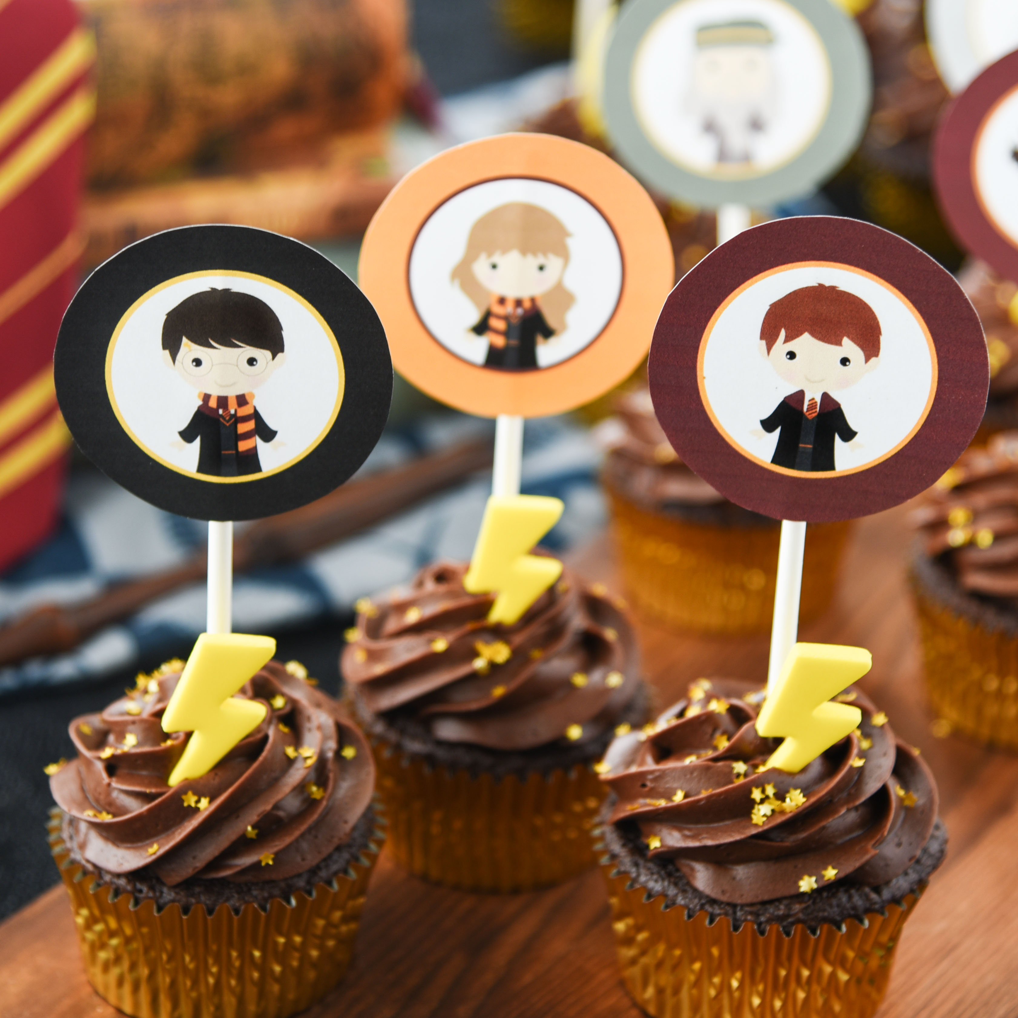 Harry Potter Cupcakes with Printable Toppers - Cupcake Diaries