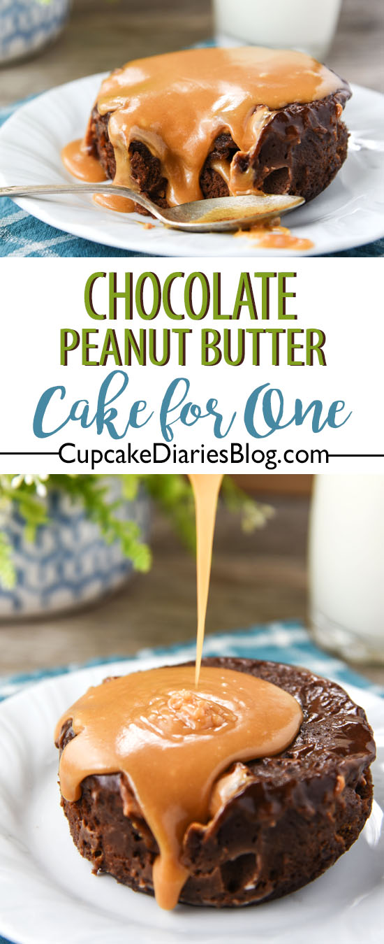 The Best Chocolate Peanut Butter Cake for One is so decadent and topped with a warm peanut butter sauce. Hot, gooey, and ready in five minutes!