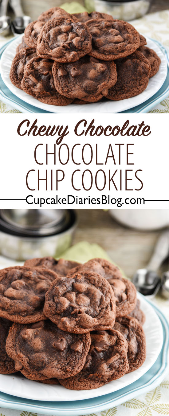 Chewy Chocolate Chocolate Chip Cookies - The most perfectly chewy chocolate cookie you will ever eat!