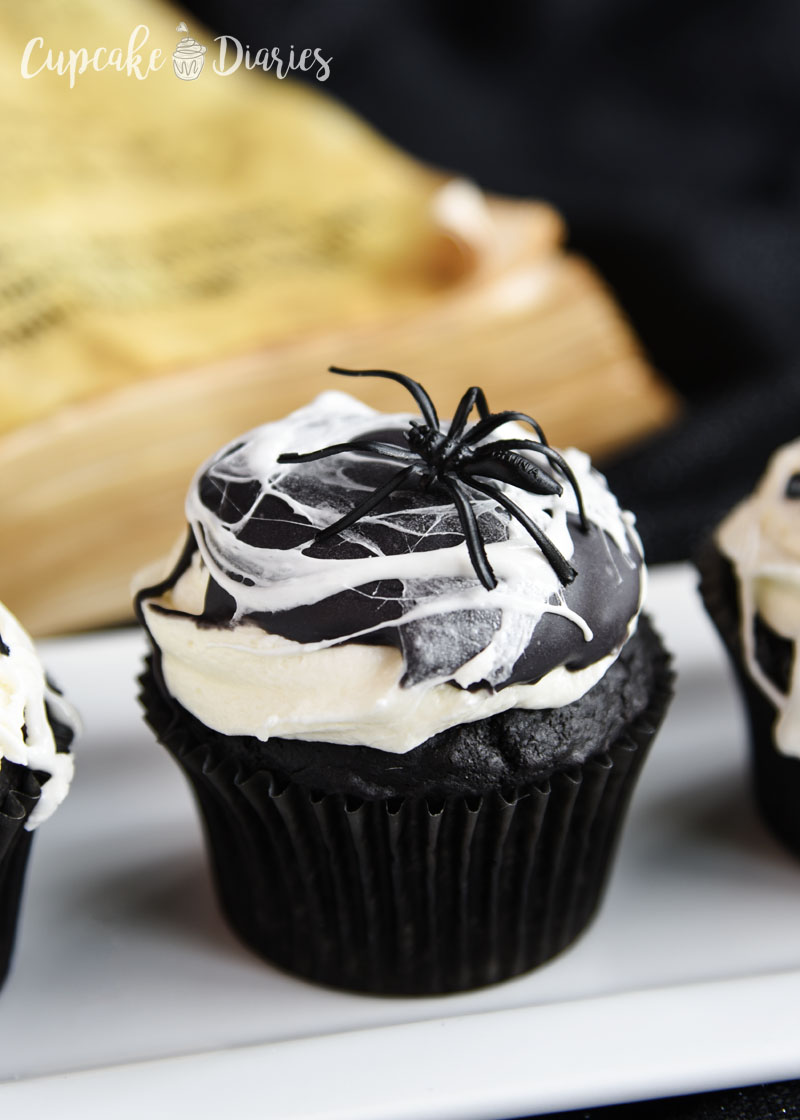 These cupcakes are creepy, but they're so delicious! Dark chocolate cake topped with marshmallow buttercream.