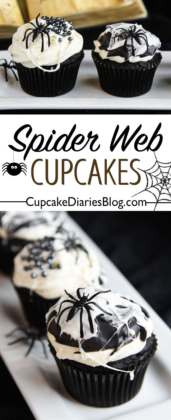 Nothing says creepy like spiders and spider webs on cupcakes! These guys are perfect for Halloween!