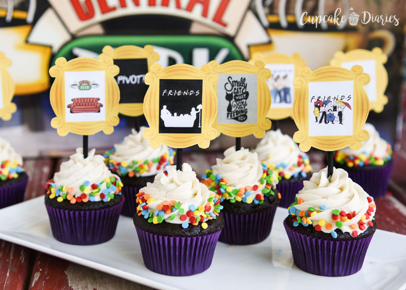 You'll get 12 different designs with these Friends cupcake toppers!