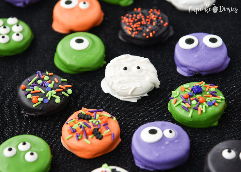 Colorful Halloween Dipped Oreos are great for a party!