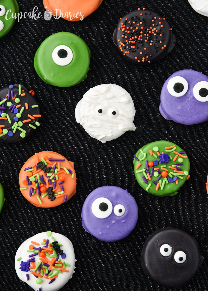 Halloween Dipped Oreos are so bright and fun for a party!