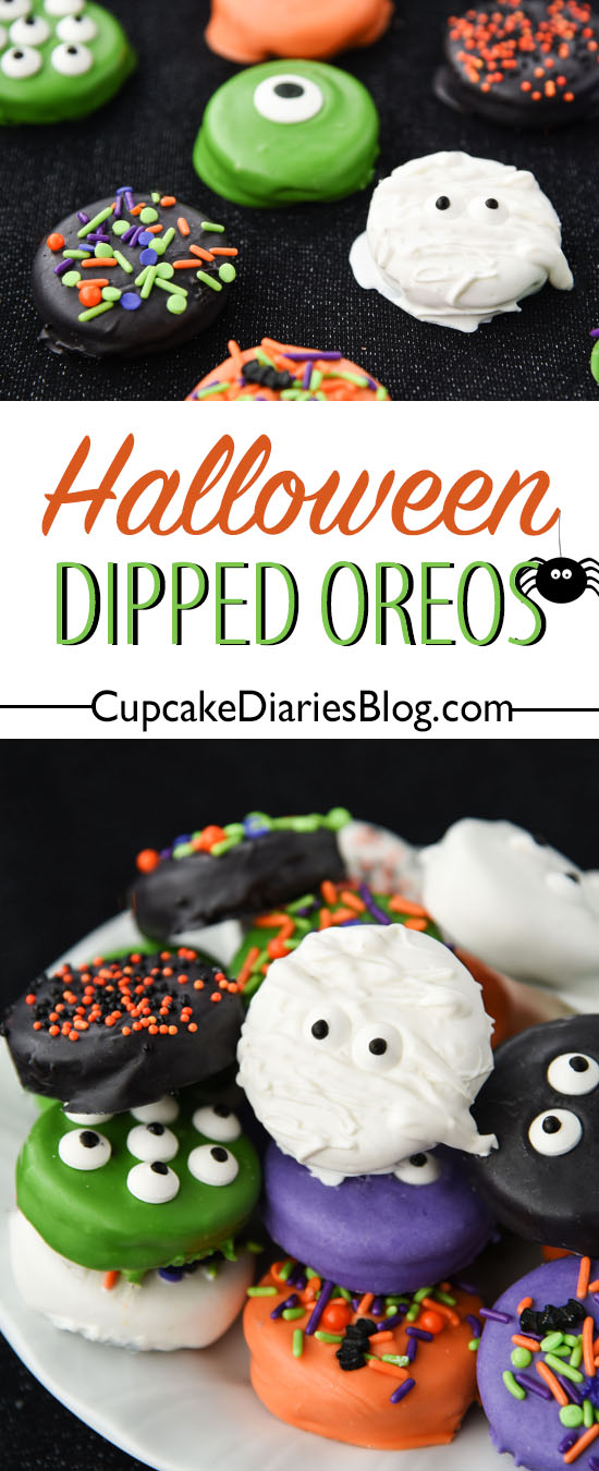Bright and spooky dipped cookies perfect for Halloween!