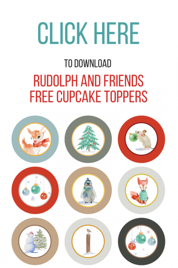 12 Rudolph and Friends Cupcake Toppers