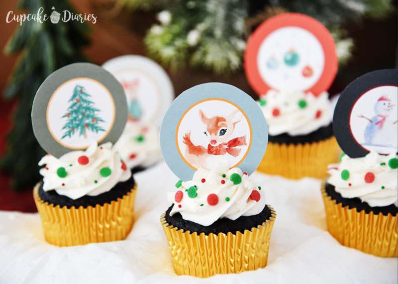 Rudolph lives in a wintery wonderland depicted on each of these cupcake toppers! Perfect for a Christmas party.