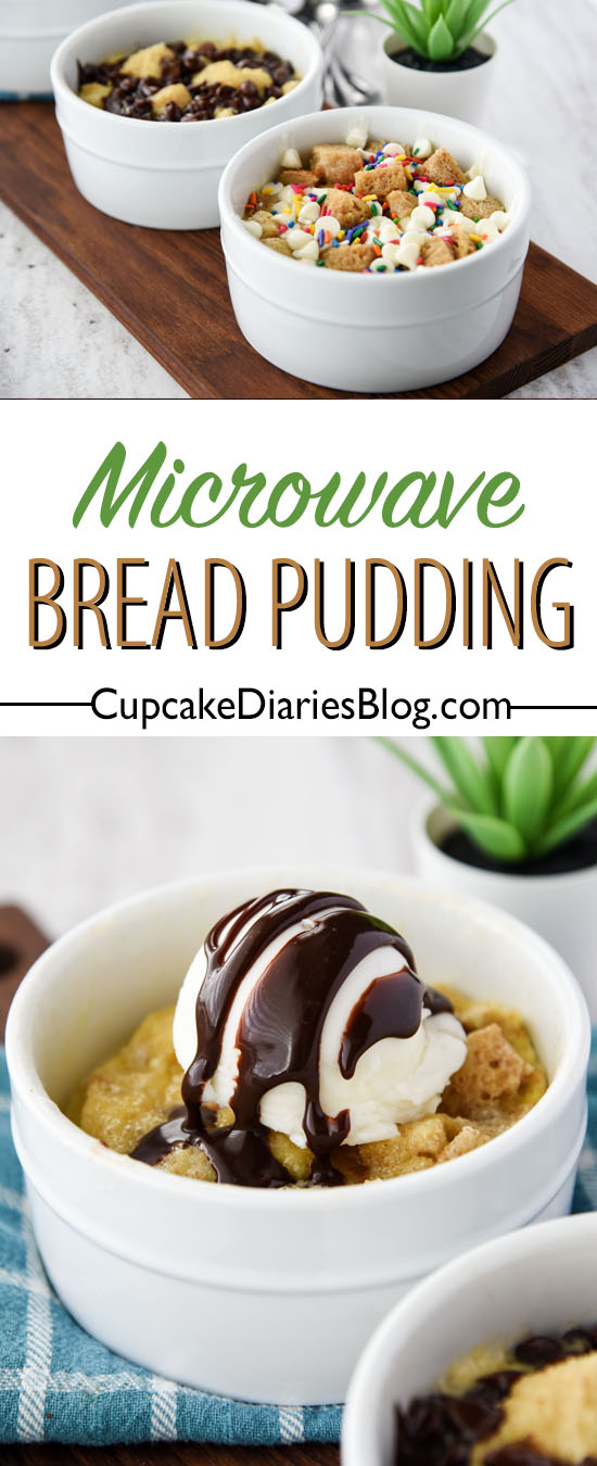 Microwave Single-Serve Bread Pudding is the perfect treat for families! Each person can create their own dessert and add sprinkles, marshmallows, and more!