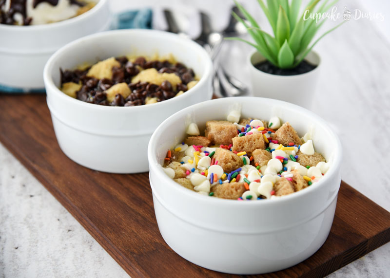 It's so fun choosing mix-ins for microwave bread pudding! Sprinkles and white chocolate chips are especially yummy.