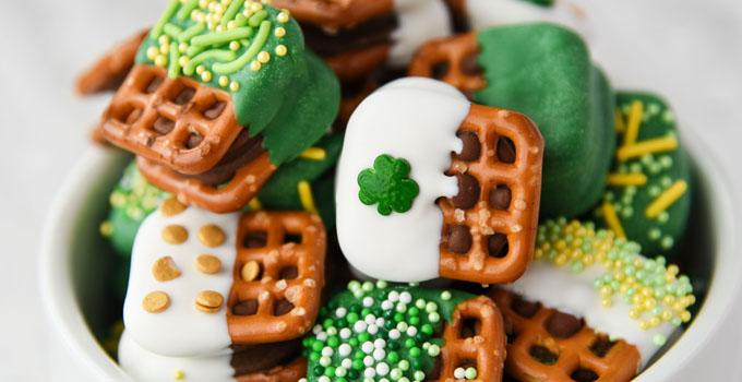 St. Patrick's Day Caramel Pretzel Bites