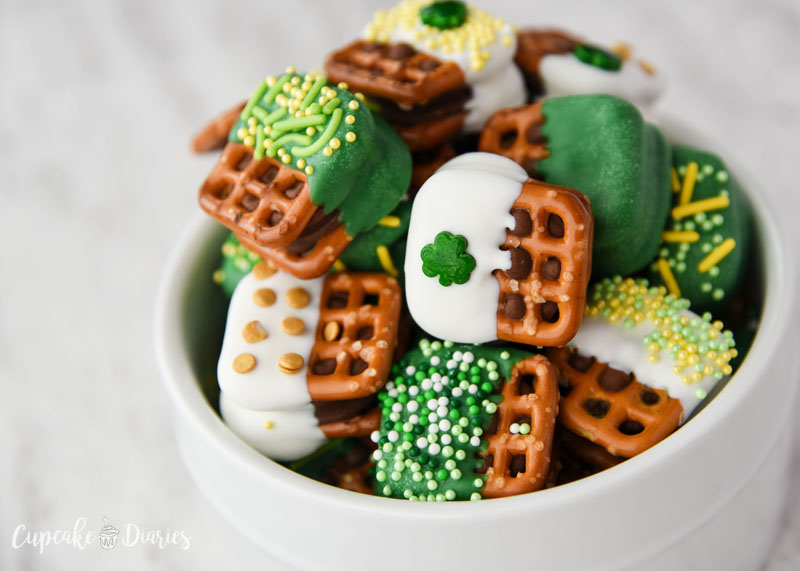Caramel pretzel bites are pretty much perfect for any holiday, including St. Patrick's Day!