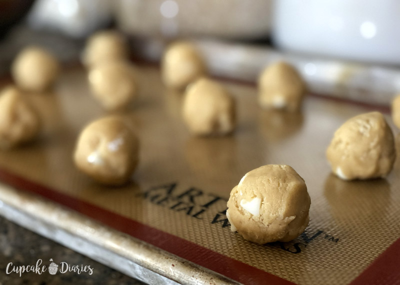 White Chocolate Candy Corn Cookie dough balls ready for some candy corn on top!
