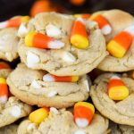 Chewy and chunky cookies loaded with white chocolate chips and candy corn!
