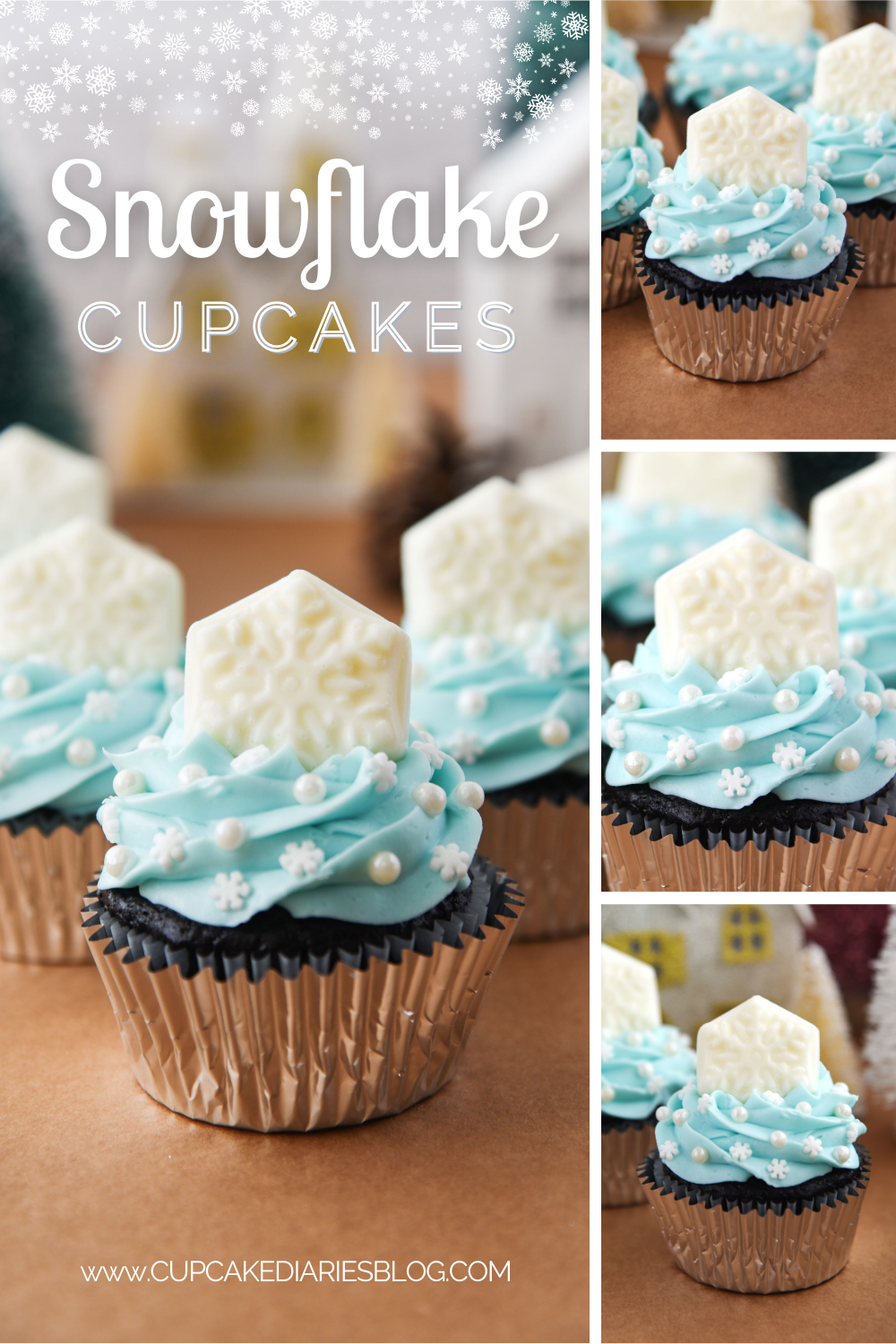 These chocolate cupcakes are topped with a smooth buttercream frosting, winter sprinkles, and a white chocolate snowflake. Perfect for a Frozen party or a winter event!