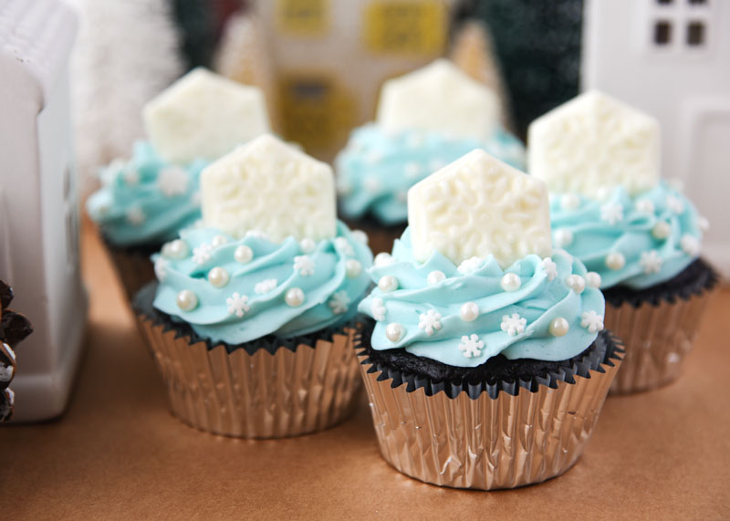 These decadent cupcakes are the perfect wintertime treat! They're perfect for a Frozen birthday party.