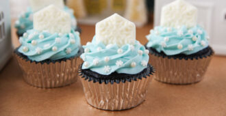 Chocolatey cupcakes topped with a beautiful winter blue buttercream and a white chocolate snowflake.